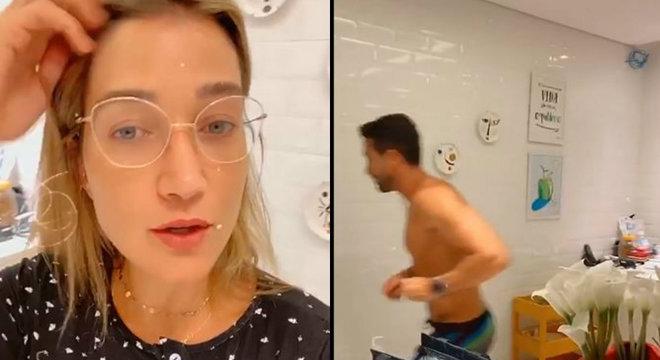 Em vídeo, Pugliesi faz piada sobre coronavirus e ameaça marido