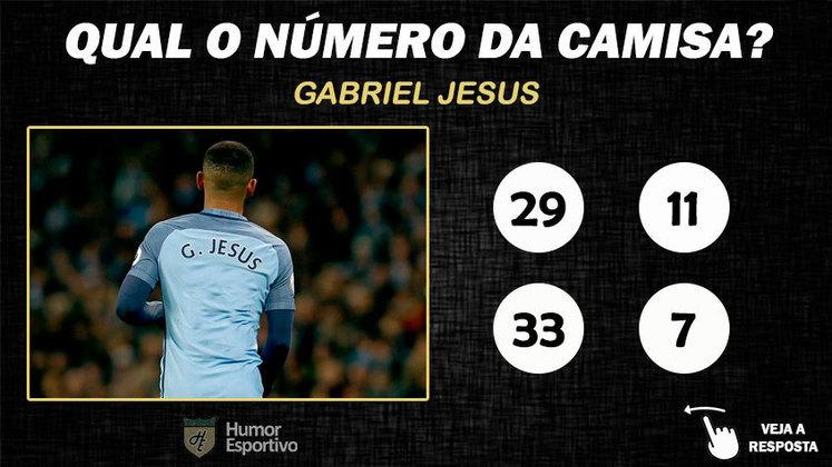 Qual o número da camisa de Gabriel Jesus no Manchester City?
