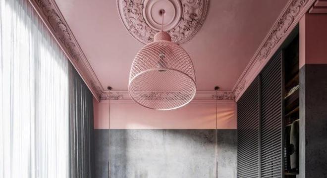 Quarto rosa e cinza escuro para uma decoração moderna