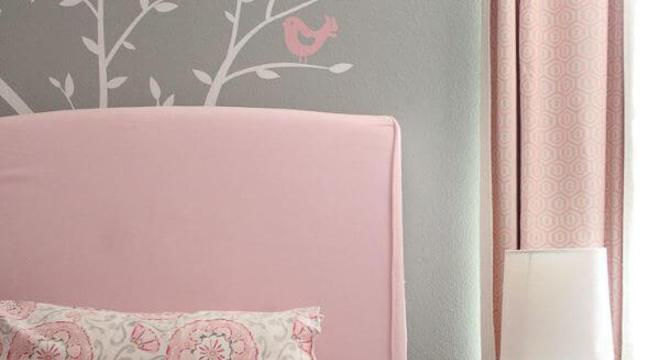 Quarto rosa e cinza para decoração criativa e moderna