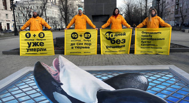 O Greenpeace organizou uma manifestação em Moscou