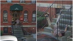 Google Maps flagra queda dramática de homem em escada nos Estados Unidos (Reprodução/Google Street View)