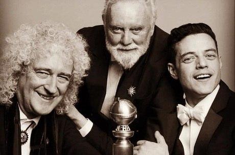 Brian, Roger e Rami comemoram o Globo de Ouro