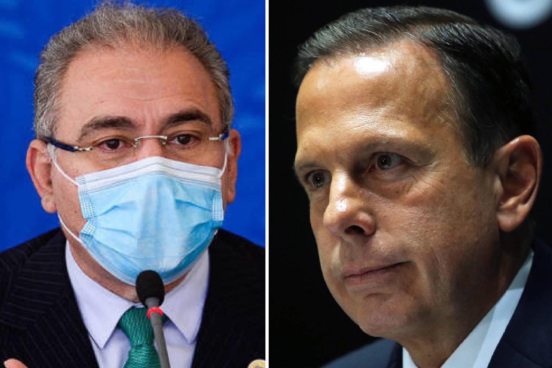 O ministro da Saúde, Marcelo Queiroga, e o governador de São Paulo, João Doria