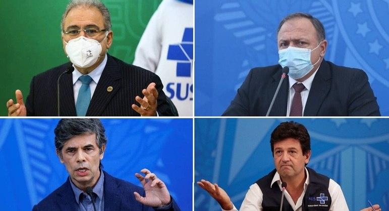 Ministro da Saúde, Marcelo Queiroga, e ex-ministros Pazuello, Teich e Mandetta