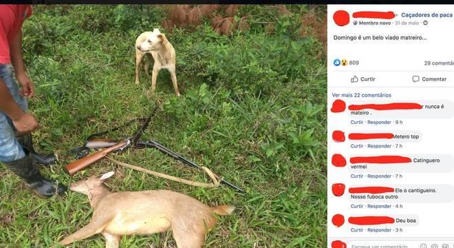 """Questionado pela reportagem, o Facebook tirou do ar o grupo """"Caçadores de paca"""" por violar regras ao retratar ou promover violência física contra animais"""