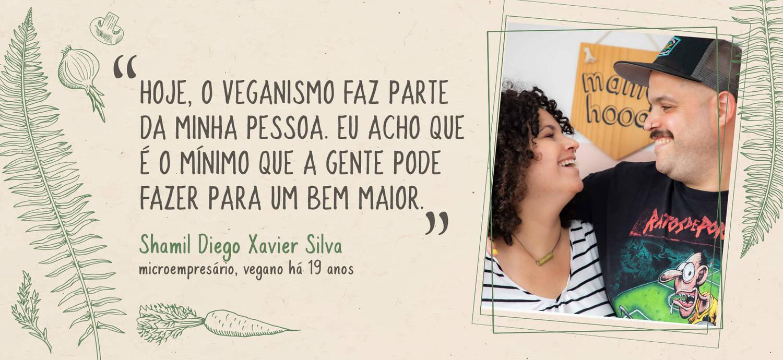 O casal Shamil e Priscila cria os filhos com a mesma dieta que praticam, à base de vegetais (Arte/ R7)