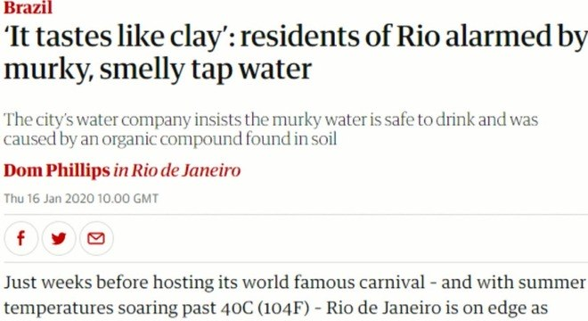 """""""Tem gosto de barro"""", diz jornal britânico sobre água fornecida pela Cedae no Rio"""