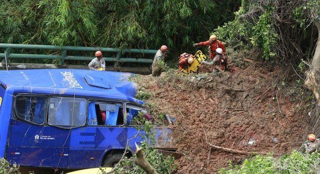 Dois corpos foram encontrados dentro de ônibus atingido por deslizamento