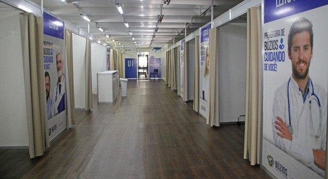 Hospital de Campanha foi montado em tenda de triagem em Búzios