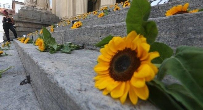 Margaridas foram deixadas na escadaria da Câmara Municipal do Rio