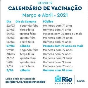 Novo calendário de vacinação