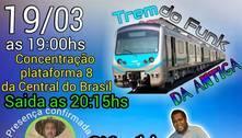 Passageiros promovem baile funk e aglomeração em trem do Rio