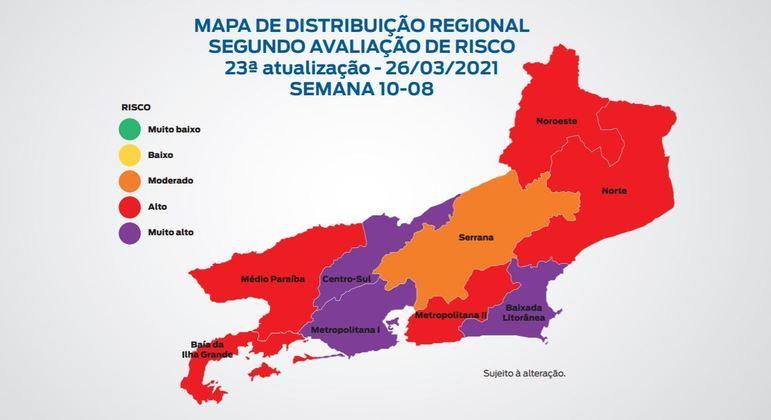Regiões Centro-Sul, Metropolitana I e Baixada Litorânea estão com rico muito alto