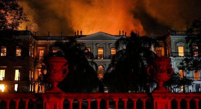 Museu Nacional, no Rio de Janeiro, foi destruído por um incêndio em 2018
