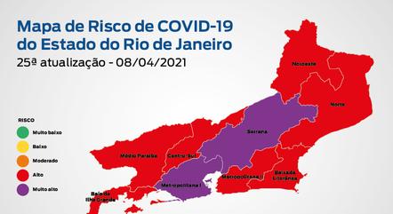 Estado do RJ tem risco alto para covid-19