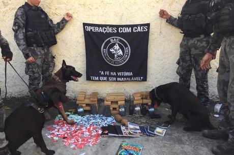Operação com cães apreende grande quantidade de drogas no Rio
