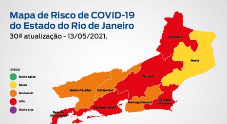 RJ entrou na bandeira laranja no mapa de risco