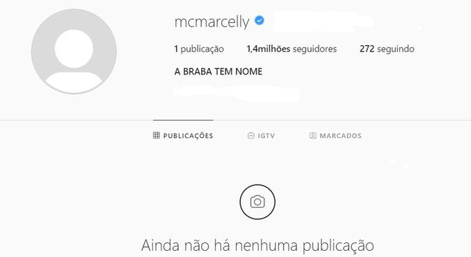 Print do perfil oficial de Marcelly no Instagram, depois das fotos apagadas