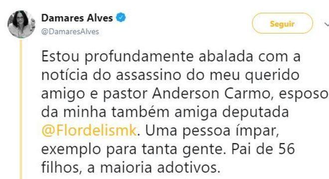 Ministra lamentou a morte do pastor Anderson Carmo
