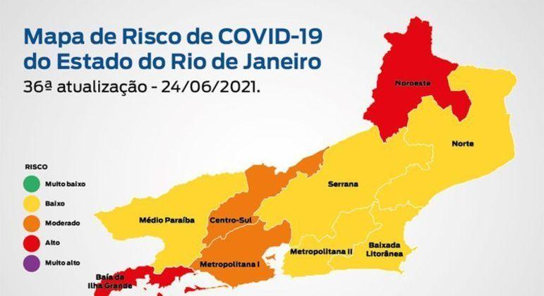 Mapa de Risco Covid-19: estado do Rio de Janeiro mantém bandeira amarela