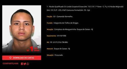 "Cartaz de procura do criminoso ""Bochecha Rosa"""