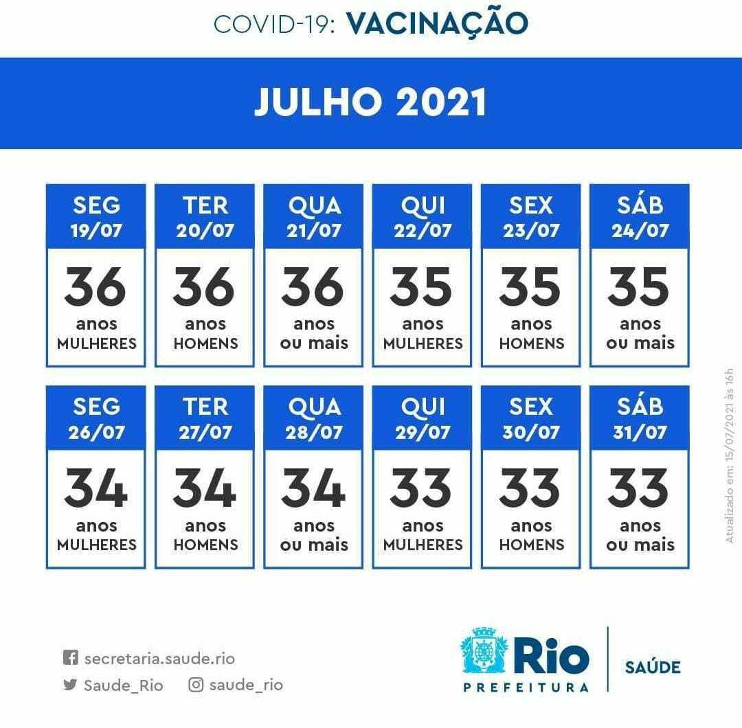 Calendário de julho de vacinação da capital do Rio de Janeiro
