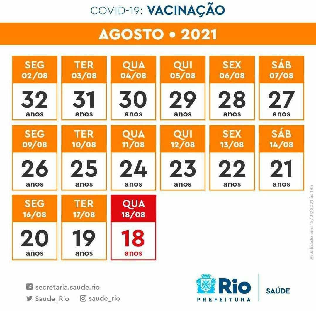 Calendário do mês de agosto para a faixa  etária entre 18 a  32  anos