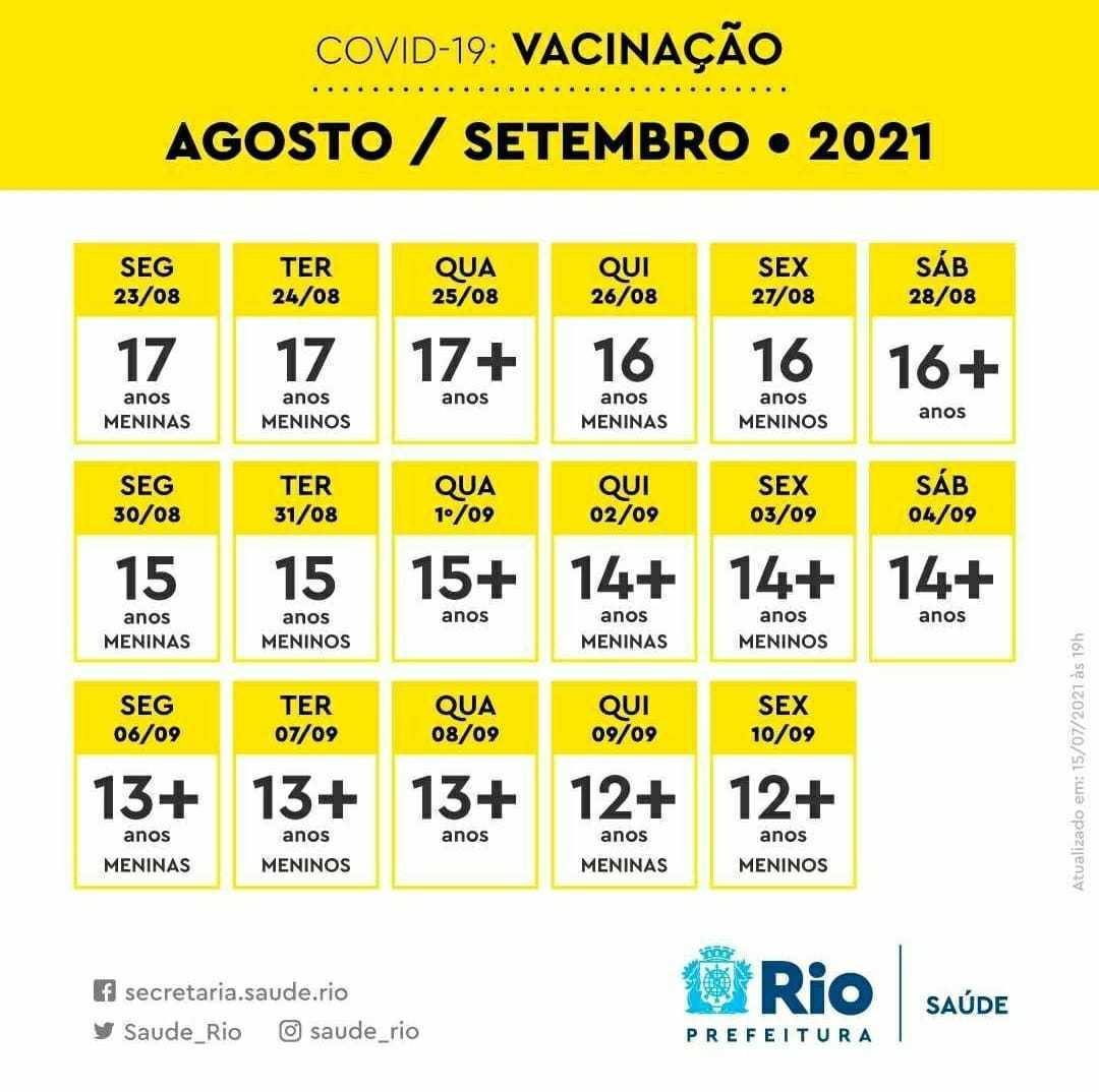 Calendário do s meses de agosto e setembro para a faixa etária entre 12 a 17  anos