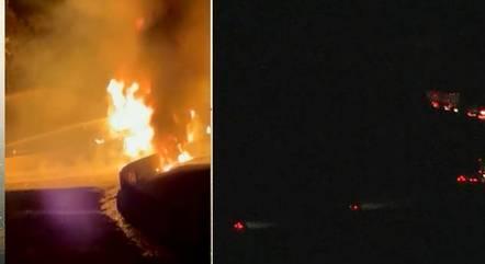 Equipes foram acionadas para conter fogo em caminhão