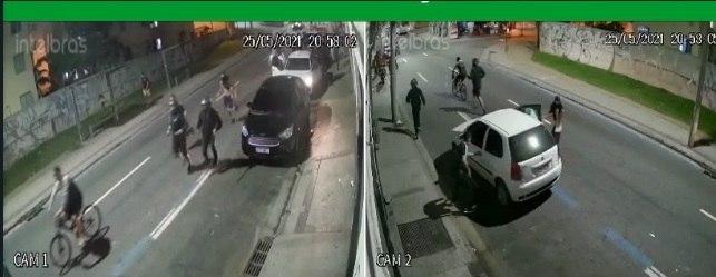Câmeras de segurança registraram correria