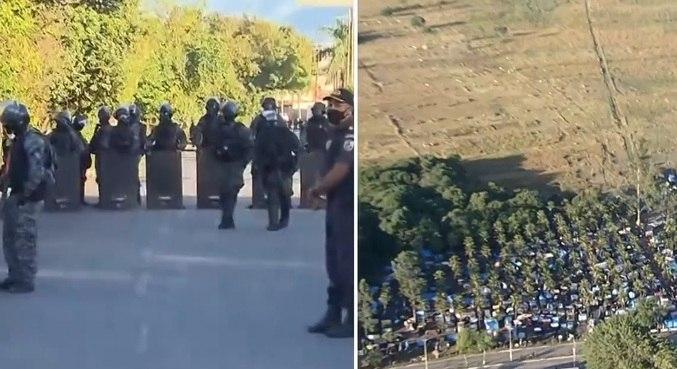 Policiais militares trabalham em desocupação em Itaguaí; moradores alegam abuso de força