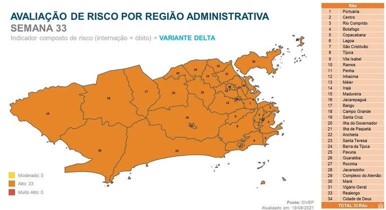 Toda a cidade do Rio de Janeiro está classificada com risco alto para contaminação da covid-19