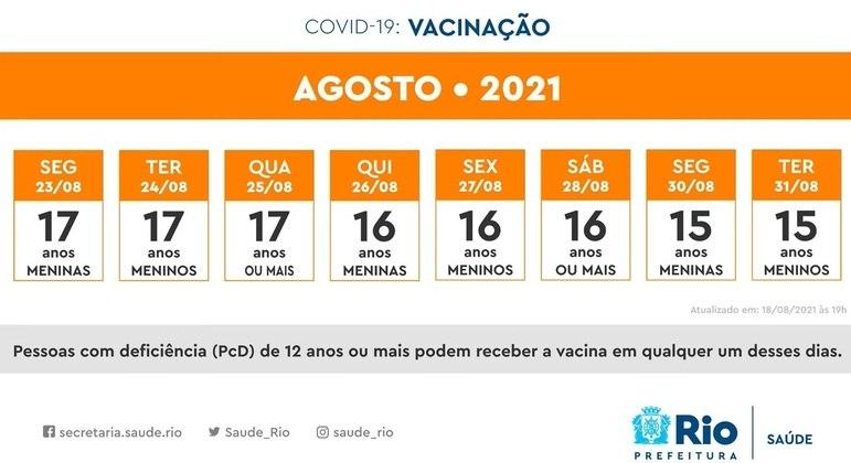 Calendário da última semana de agosto; adolescentes de 17 a 15 anos vão tomar a primeira dose