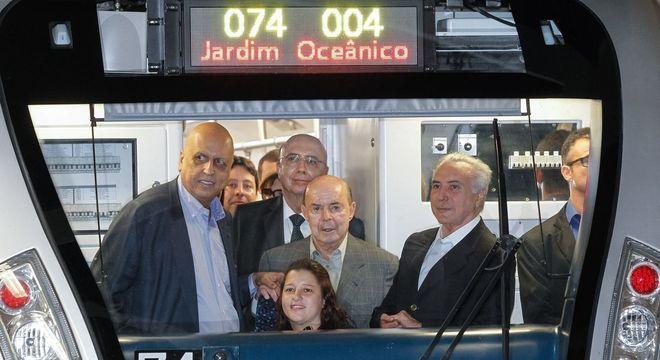 Autoridades participaram da inauguração da Linha 4 do MetrôRio