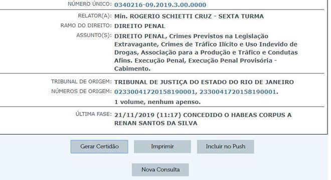 Consulta mostra que o habeas corpus foi concedido nesta quinta (21)
