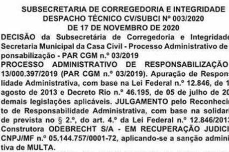Punição foi publicada no Diário Oficial