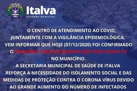 Prefeitura de Italva anunciou caso de reinfecção por covid-19