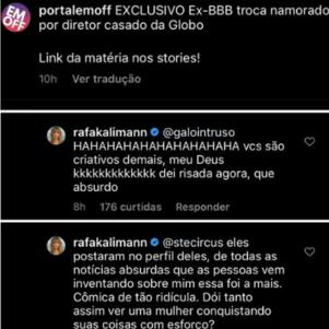 Rafa Kalimann nega que esteja se relacionando com homem casado