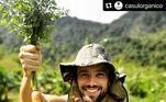 O ator participa de todas as etapas, do preparo do solo até a entrga dos alimentos aos consumidoresConfira:Pai de Gusttavo Lima exibe vida simples no campo: 'Felicidade'