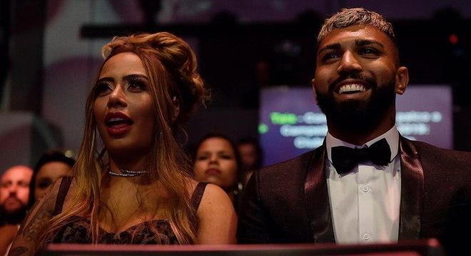 Rafaella e Gabigol na festa de premiação do Brasileiro