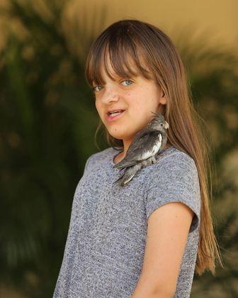 Rafaella também exibiu um bicho de estimação que tanto adora.