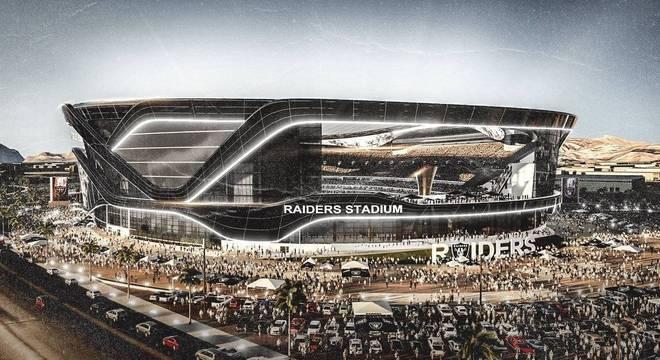 O novo estádio, magnífico, dos agora Las Vegas Raiders