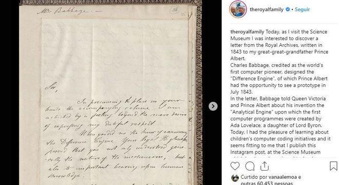 Post da rainha comenta carta de precursor da informática enviada a seu tataravô