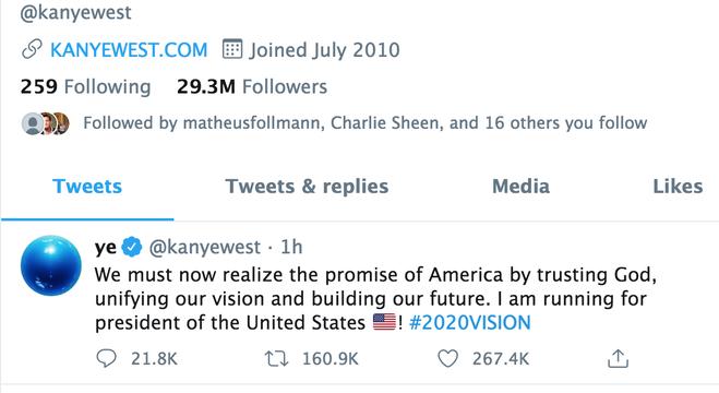 Kanye West usa rede social para dizer que será candidato à presidência dos EUA