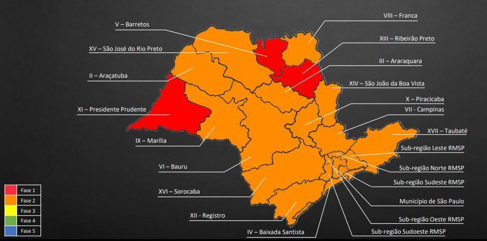 Segundo mapa do governo do estado, anunciado nesta quarta
