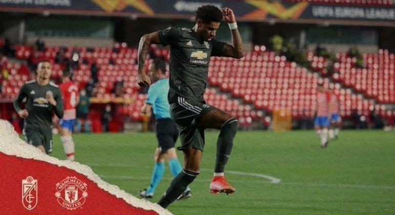 Rashford celebra o 1 X 0 do United, em Granada
