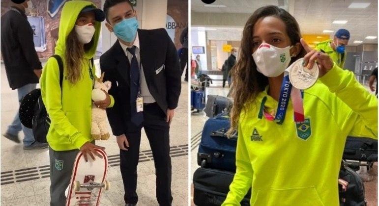 Rayssa Leal chegou com muita festa ao Brasil, tirou fotos e mostrou a medalha