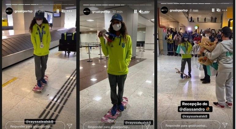 Rayssa Leal chegou e andou de skate pelo saguão do aeroporto