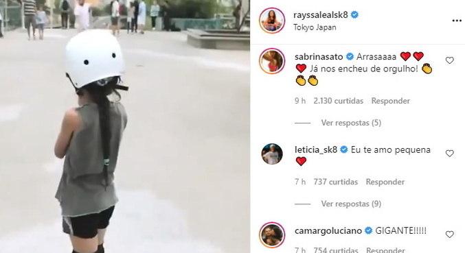 Rayssa publicou uma montagem com vídeos de sua carreira como skatista